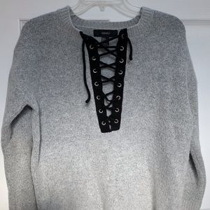 Forever 21 Gray Sweater with Black ties